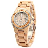 Bewell Women's ZS-100BL Handmade Wooden Analog Quartz Maple Wood Retro Wrist Watch