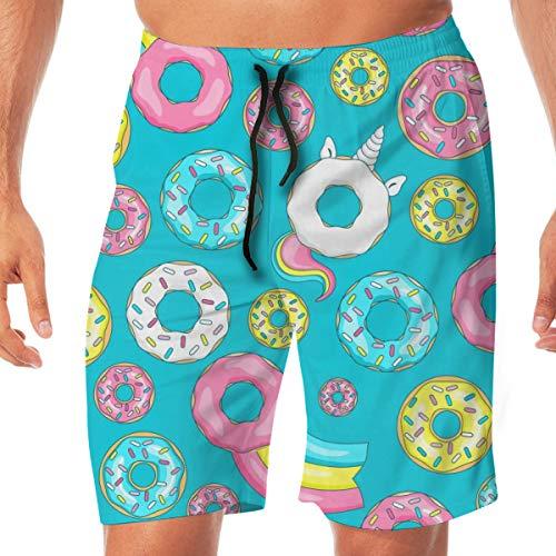 7c43d7a42b Ianbay Mens Beach Shorts Swim Trunks Donut Unicorn with White Glaze  Boardshorts Quick Dry