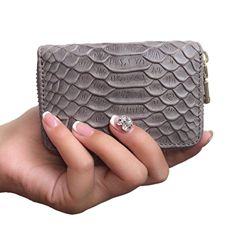 Women's Genuine Leather RFID Secure Spacious Cute Zipper Card Wallet Small Purse (Grey) by Aymlan