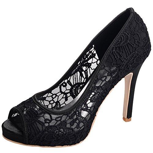 Loslandifen Femmes Peep Toe Dentelle Fleurs Escarpins Talons Hauts Mariage Sandales Chaussures Blanc