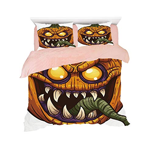 Comfortable Bed Sheet Set with Bedding Pillow Case Cover for bed width 6ft Pattern Customized bedding for girls and young children,Halloween,Scary Pumpkin Monster Evil Character with Fangs Aggressive