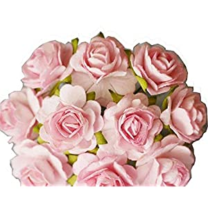 100 Pcs Hight Quality Pink Color Mulberry Paper Flowers of Wedding Roses : 15mm. By Thai Decorated' 28