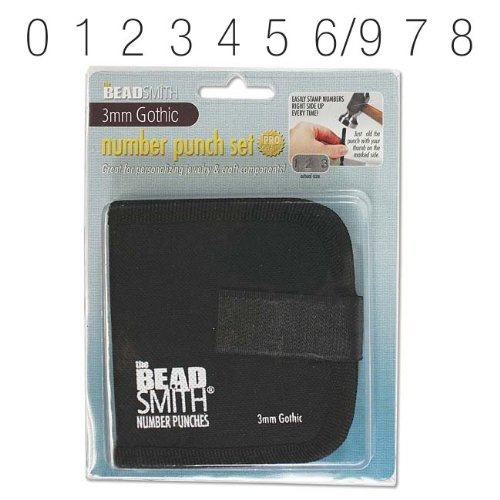 Beadsmith (LPS023) 9 Piece Gothic Numbers 0-9 Metal Punch Stamp Set, 3mm ()