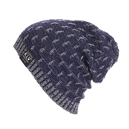 Tiean Men Women Warm Crochet Winter Wool Knit Ski Beanie Skull Slouchy Caps Hat (Navy)