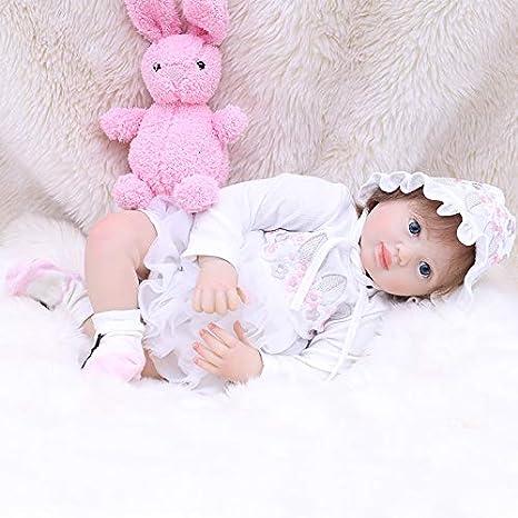 OtardDolls 20 Reborn Baby Dolls,Lifelike Realistic Cute Open Eyes Girl with Snow White Skirt Soft Vinyl Newborn Baby Children Gifts Ages 3+