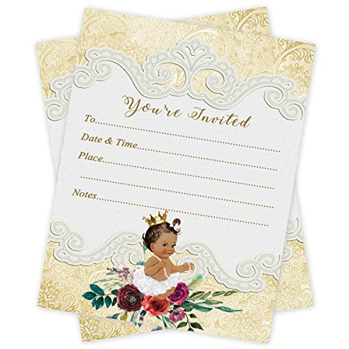 (Gold Princess First Birthday or Baby Shower Party Invitations 20 Count With Envelopes)