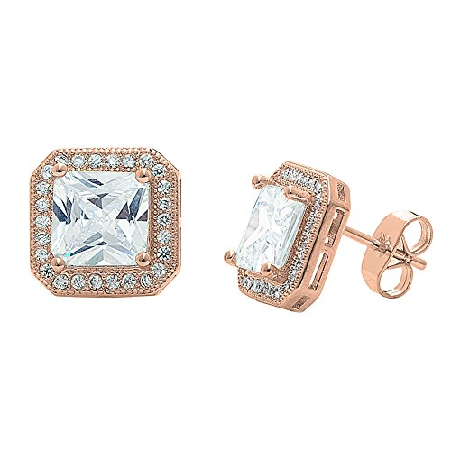 Cate & Chloe Londyn 18k Rose Gold Plated Princess Cut CZ Halo Stud Earrings, Sparkling Cluster Rose Gold Stud Earring Set w/Solitaire Princess Gemstone, Wedding Anniversary ()