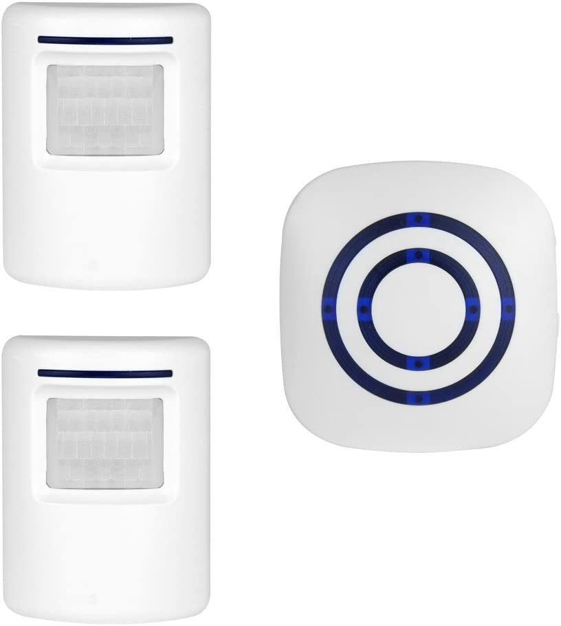 ENEGG Wireless Home Security Driveway Alarm, Entry Alert, Visitor Door Bell Chime with 1 Plug-in Receiver and 2 PIR Motion Sensor Detector Alert System, Quality Sound and LED, 38 Melodies