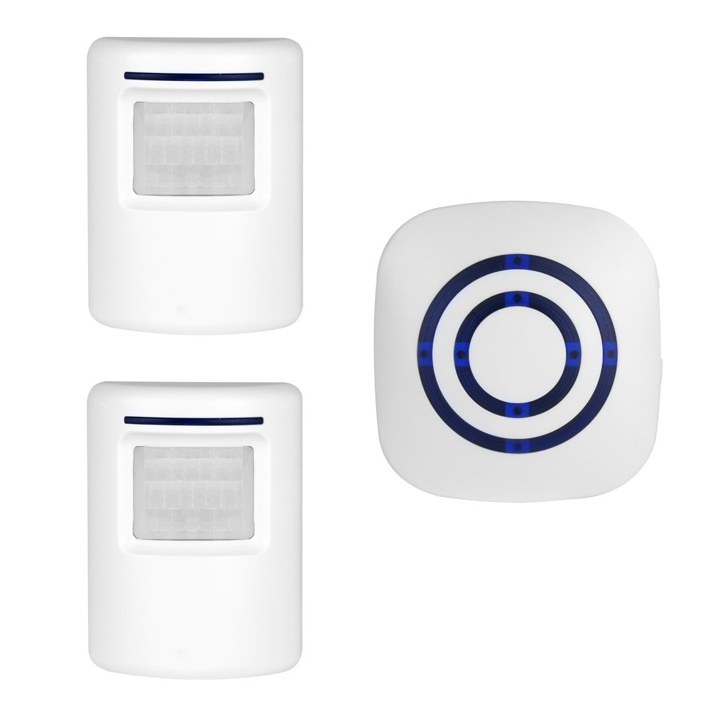 Wireless Home Security Driveway Alarm, Enegg Entry Alert, Visitor Door Bell Chime with 1 Plug-in Receiver and 2 PIR Motion Sensor Detector Alert System, Quality Sound and LED, 38 Melodies