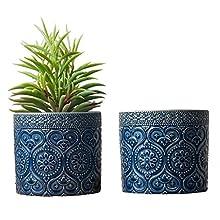 MyGift 4-Inch Cobalt Blue Ceramic Floral Embossed Succulent Planter Pots, Set of 2