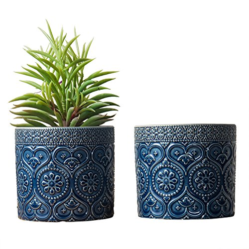 MyGift 4-Inch Cobalt Blue Ceramic Floral Embossed Succulent Planter Pots, Set of 2