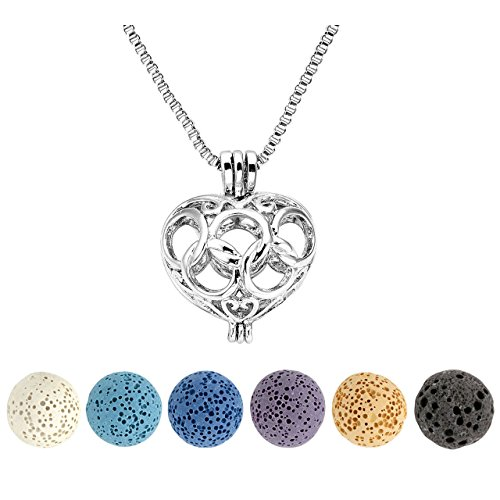 Top Plaza Natural Lava Rock Stone Aromatherapy Essential Oil Diffuser Necklace Silver Locket Pendant With 6 Dyed Lava Beads(Heart - Plaza Rock
