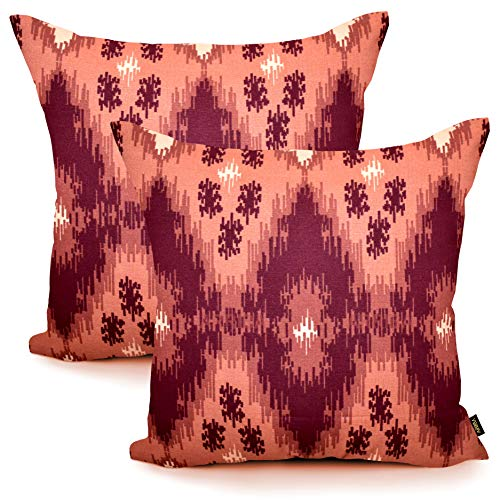 Arriba, 18x18 Inches | 45x45 Cms, Pack/Set of 2 Pcs, Modern Ikat Diamond Printed Pattern Standard Size Pure Cotton Accent Decorative Canvas Throw Pillow Covers | Cushions Covers for Home.(Rust Shade)