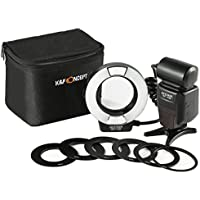 Macro Ring Light Flash, K&F Concept KF-150 E-TTL Speedlite LCD Display and Wireless Slave Function with 6pcs Adapter Rings for Canon DSLR Cameras