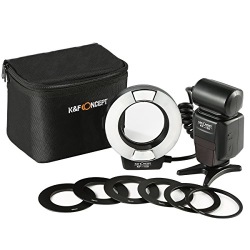 K&F Concept KF-150 I-TTL Macro Ring Light Flashs LCD Display and Wireless Slave Function Speedlite with 6pcs Adapter Rings for Nikon DSLR Cameras