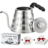 CASALEEYA Pour Over Coffee Kettle With Built-In Thermometer- 1.2 Lt Stainless Steel Over Stove Tea Gooseneck Kettle- GREAT GIFTS: 60 Disposable Coffee Filter Bags & Ceramic Coffee Dripper With Handle