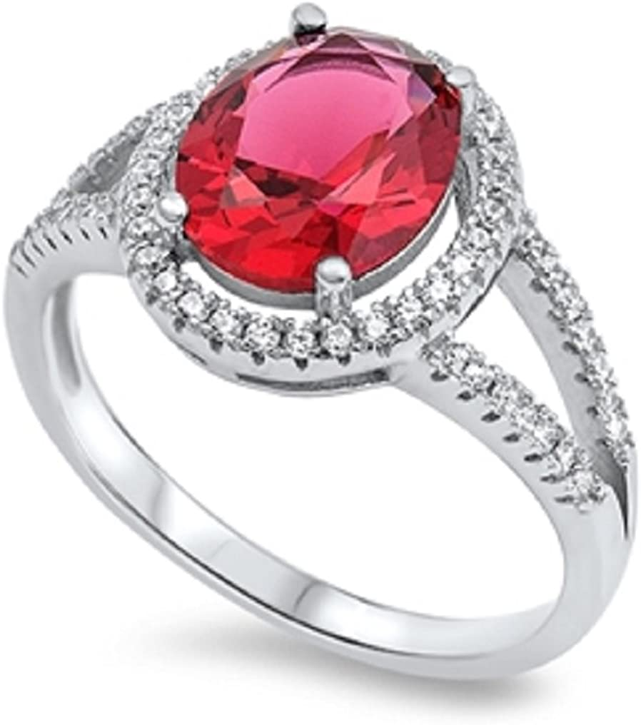 CloseoutWarehouse Oval Simulated Ruby Cubic Zirconia Designer Style Ring Sterling Silver