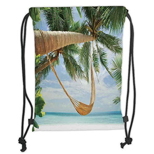 New Fashion Gym Drawstring Backpacks Bags,Tropical,View of Nice Hammock with Palms by the Ocean Sandy Shore Exotic Artsy Print Decorative,Green Cream Blue Soft Satin,Adjustable St