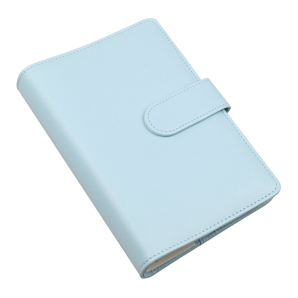 A6 PU Leather Notebook Cover,Refillable 6 Round Ring Binder Cover for A6 Filler Paper,Travel Diary Cover with Business Card Pocket,Writing Journal Cover with Magnetic Buckle, Mint Blue by Tofun