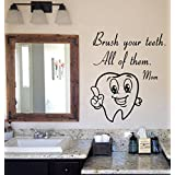 Cute Tooth Wall Decals Brush Your Teeth Mom Wall Quotes Vinyl Decal Sticker Bath Words Bathroom Home Decor Art Mural Kids Room Design