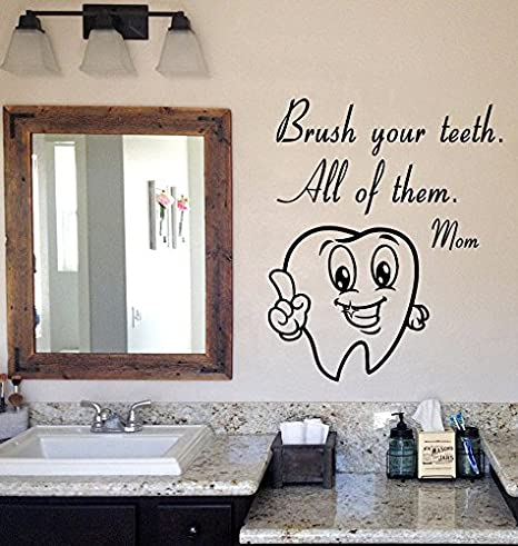 Amazoncom Nsunforest Cute Tooth Wall Decals Brush Your Teeth Mom
