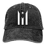 MOSDELU Puerto Rico Resiste Boricua Flag Baseball Cap Adjustable Denim Trucker Cap Jeans Caps for Adult Black
