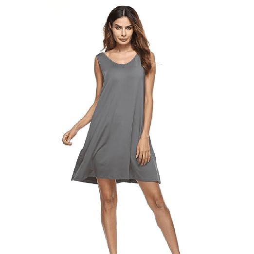 38a58ca323 Amazon.com  BAOHOKE Fashion Solid Color Summer Sleeveless Mini Dresses