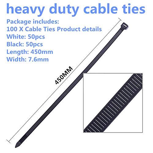 450 mm x 7,6 mm Paquete de 100 bridas resistentes para cables color blanco y 50 unidades 50 unidades color negro