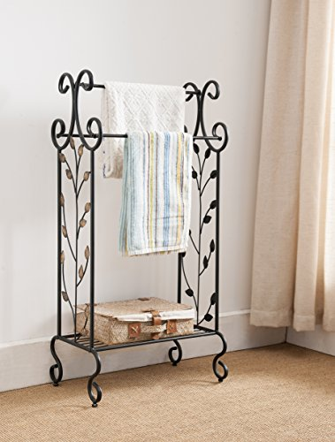 Black Metal Free Standing Towel Rack Stand with Storage Shelf & Gold Leaf Design by Pilaster Designs