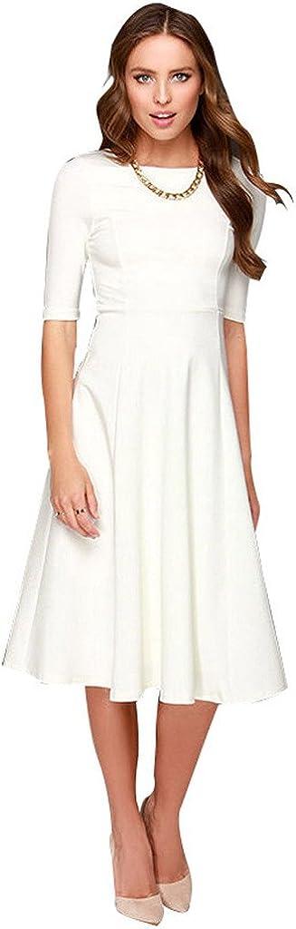 DANTIYA Women's Half Sleeve Elegant Back Zipper A-Line Knee Long Dress … at  Women's Clothing store