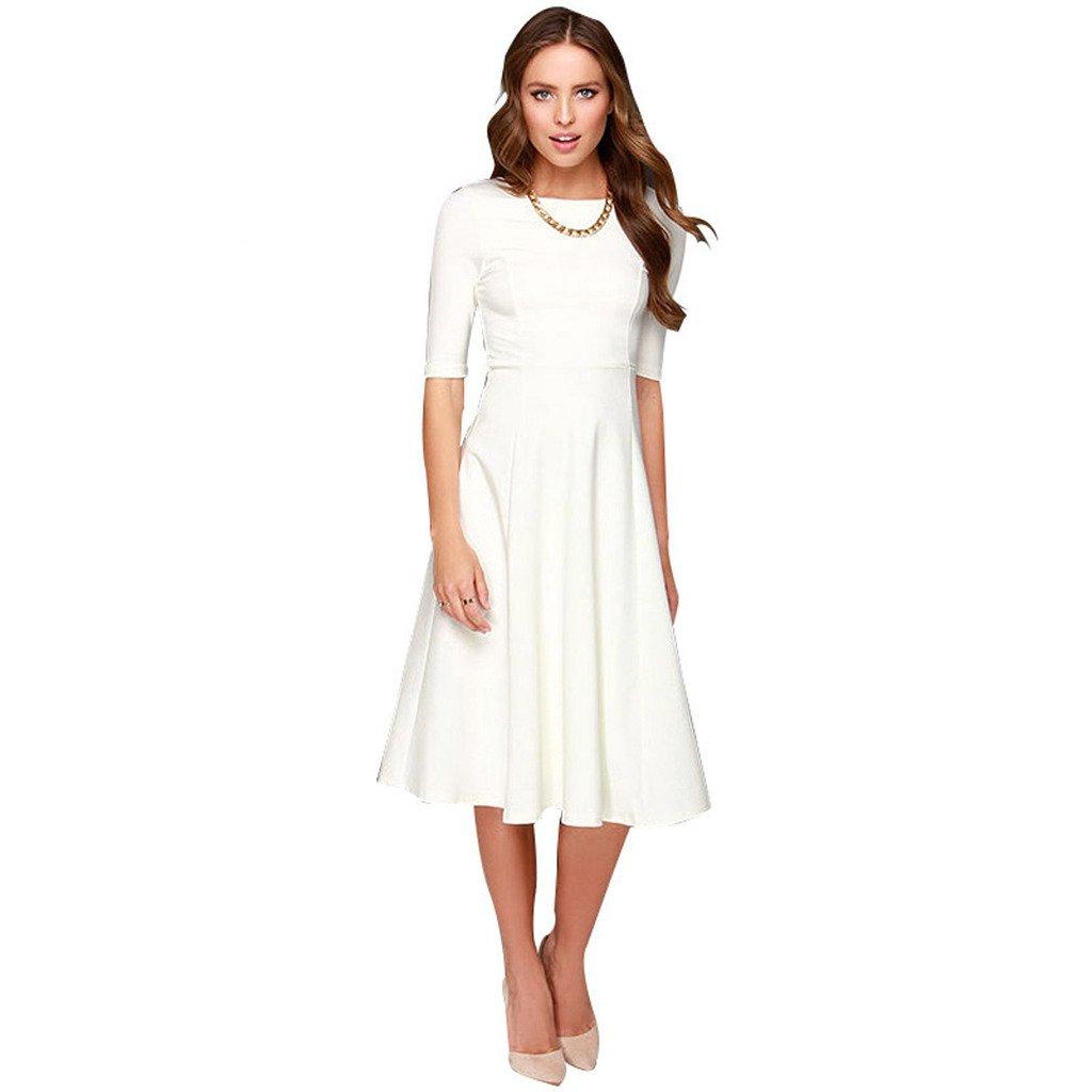 Dantiya Women's Half Sleeve Elegant Back Zipper A-Line Knee Long Dress, White, X-Small