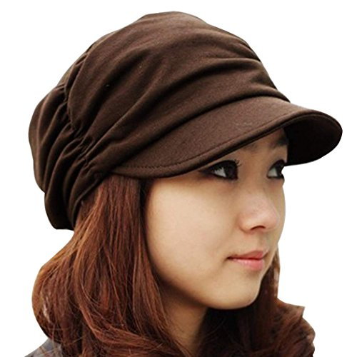 eshion Women Girl Fashion Design Drape Layers Beanie Rib Hat Brim Visor - Rib Drape
