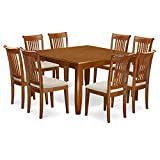 East West Furniture PFPO9-SBR-C 9 Pc Dining Room Set-Table with Leaf and 8 Kitchen Chairs, Microfiber Upholstered Seat, Saddle Brown Finish For Sale