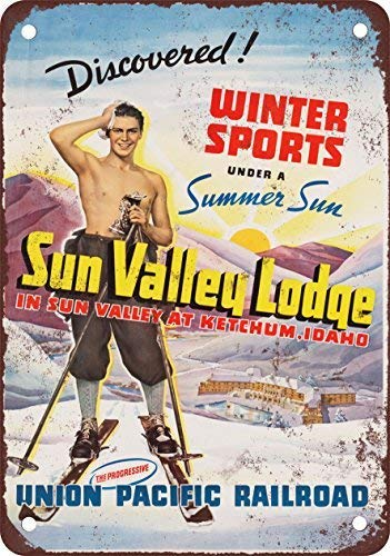 (Ski Sun Valley Union Pacific Vintage Look Reproduction Novelty Metal Sign for Home Decor Tin Sign for Man Women Cave)