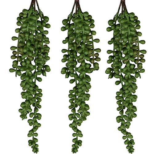 SEEKO Artificial Succulents - 3 Pack Hanging String of Pearls Plant - Create Realistic Succulent Arrangements, Faux Potted Succulent Decor, and Fake Succulent Planters in Your Home or Apartment -