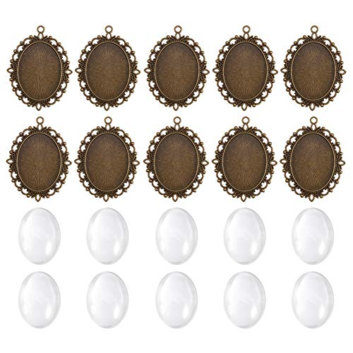 (PH PandaHall 10pcs 40x30mm Antique Bronze Oval Trays Bezel Blanks Cover Pendant, 10pcs Clear Glass Cabochon Settings Crafting DIY Jewelry Making)
