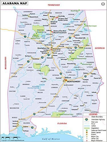 Amazon.com : Reference Map of Alabama - Laminated (36