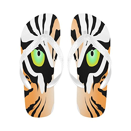 INTERESTPRINT Men Flip Flop Slippers Tiger Eyes Beach Thong Sandal White