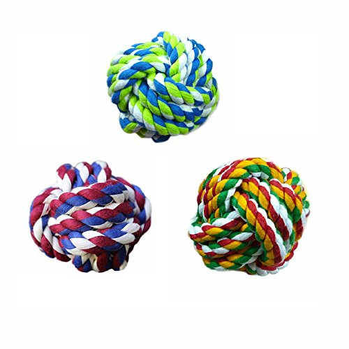 3 Pack Rope Chew Toy For Dogs Puppies Best for Aggressive Chewers Small Dogs & Cats, Knots Weave Cotton Pets Tooth Cleaning Nontoxic Bite Resistant Chewing Training Playing