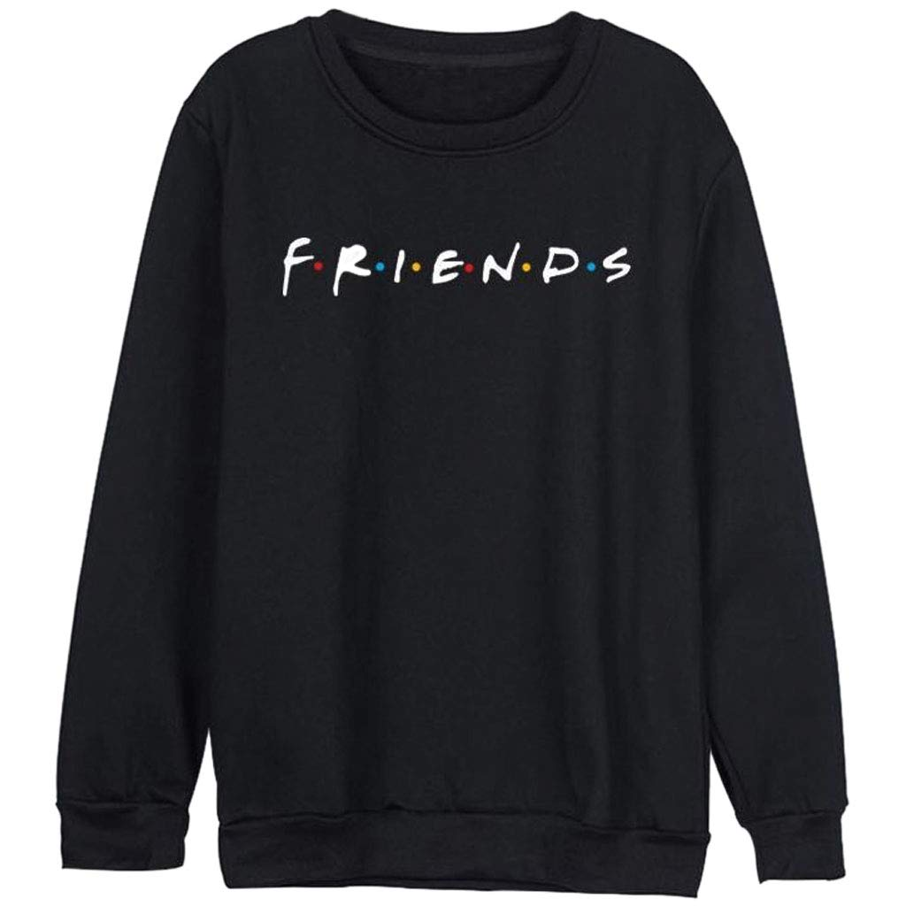 JAGENIE Women Friends Sweatshirt Casual Winter Autumn Warm Hoodies Letter Print Pullover Gray S