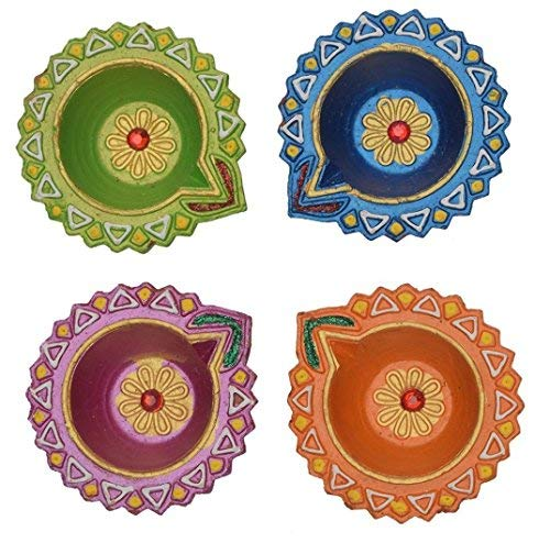 Store Indya, Set of 4 Handmade Earthen Clay Terracotta Decorative Diyas,Oil Lamps with Rhinestone (Jewel for Pooja) (Multicolor 7)
