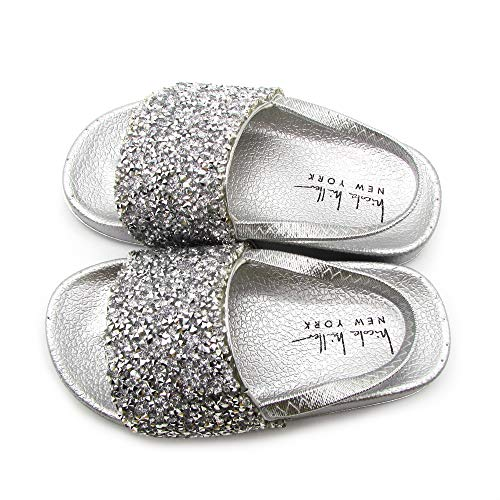 Nicole Miller New York Toddler and Little Girls Rhinestone Cluster Slide Sandles- Size 9- Age 4 Years Silver