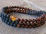 The Art of Cure Healing Jewelry & Mala meditation beads (108 beads on a strand) (lava)