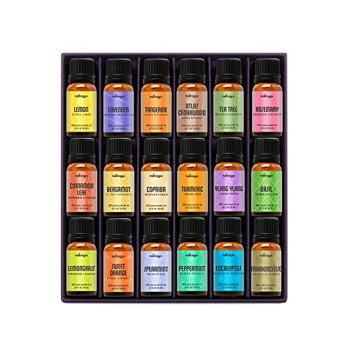Natrogix Nirvana Essential Oils – Top 18 Essential Oil Set 100% Pure Therapeutic Grade 18/10ml Incl. Lavender, Moroccan Rosemary, Tea Tree, Eucalyptus, Lemongrass and 13 More w/Free E-Book