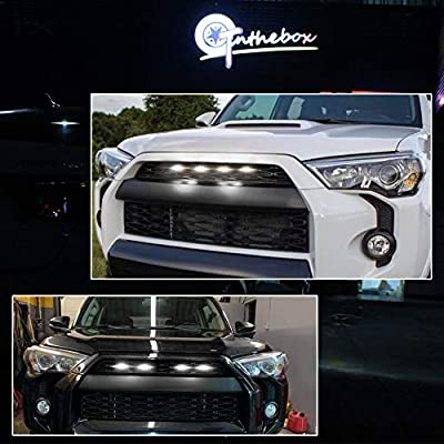 GTINTHEBOX 4 Pcs Grille Led White Light for 2014-2020 Toyota 4Runner TRD Pro Grille SR5 TRD off-road Limited TRO Pro - Smoked Shell: Automotive