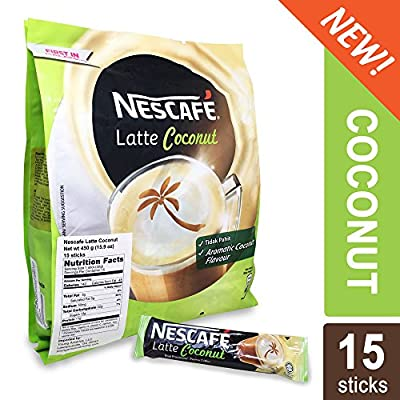Nescafe 3 in 1 Tropical COCONUT Coffee Latte - Instant Coffee Packets - Single Serve Flavored Coffee Mix (15 Sticks)