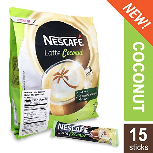 30 Single Serve Packets - Nescafe 3 in 1 Tropical COCONUT Coffee Latte - Instant Coffee Packets - Single Serve Flavored Coffee Mix (15 Sticks)