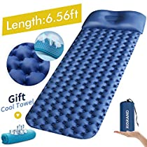 Sleeping Pad Ultralight Camping Mattress 6.56Ft Lightweight Air Sleeping Mat Portable Comfortable Inflatable Outdoor Foldable Backpack Sleeping Bag Pad and Camping Pillow with Cool Towel and Patches for Camping Travelling and Hiking