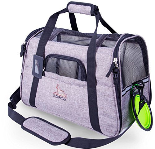 enniesshop Airline Approved Pet Carrier with Fleece Bedding Mat, for Cats, Dogs, Small Medium Kennel Animals Travel/Fits…
