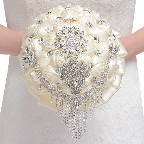 FAYBOX-Handmade-Rhinestone-Brooch-Stunning-Tassel-Wedding-Bridal-Bouquets-Ivory